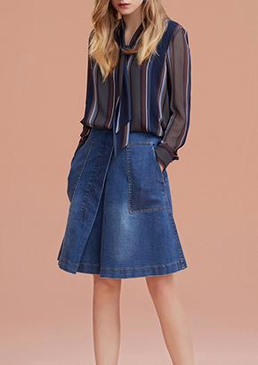 中长款长袖针织衫女圆领拼接毛衣