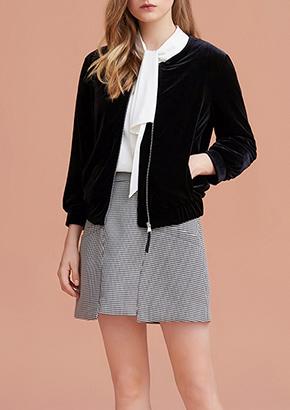千鸟格花纹女衬衫短款长袖修身