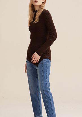 韩版圆领修身显瘦系带套头毛衫