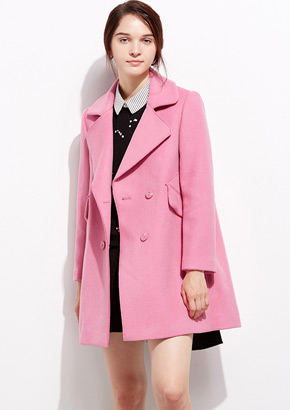 韩版修身中长款长袖呢大衣
